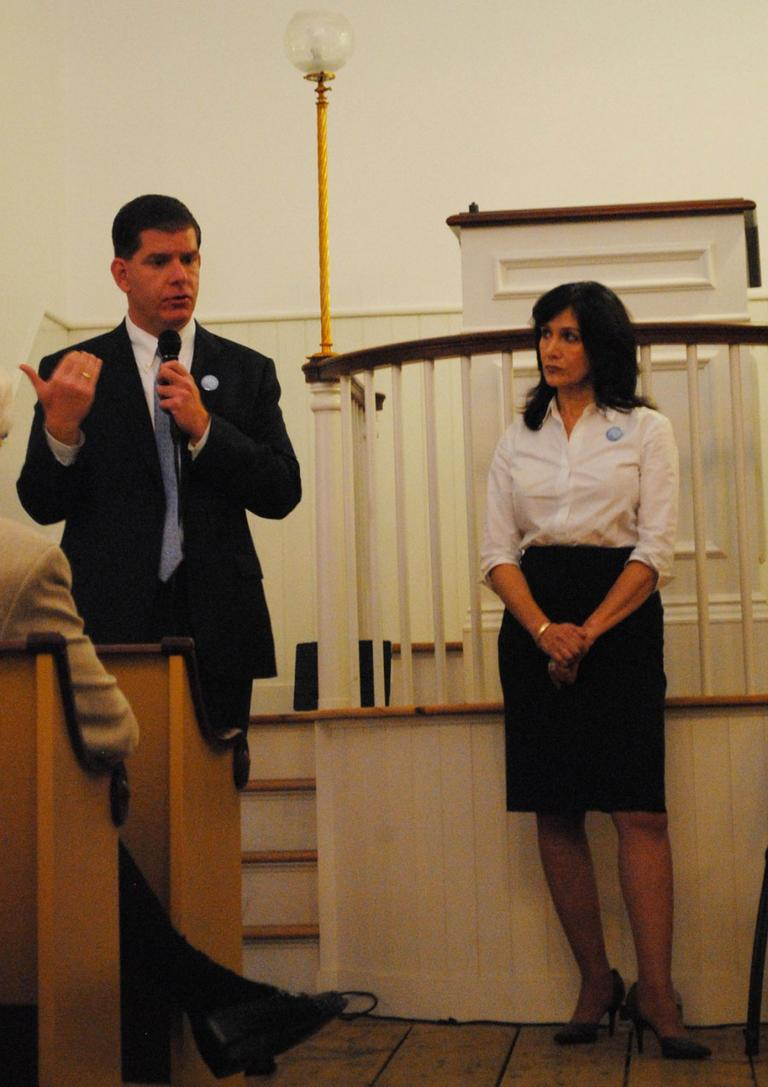 Marty Walsh speaks at a Create the Vote forum moderated by Joyce Kulhawik at the African Meeting House of the Museum of African American History in Boston on Oct. 18. (Drew Esposito/MassCreative)