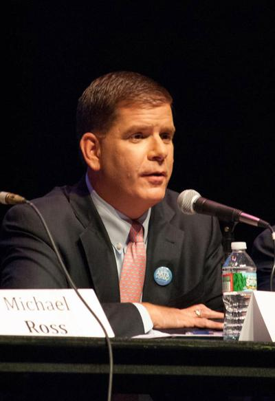 Marty Walsh speaks at the Create the Vote forum at Boston's Paramount Theatre on Sept. 9. (Kat Waterman/MassCreative)