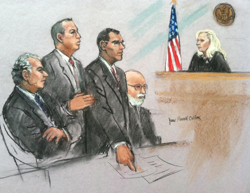 From left to right: federal prosecutors Fred Wyshak and Brian Kelly, and defense lawyers Henry Brennan and J.W. Carney. (Jane Collins)