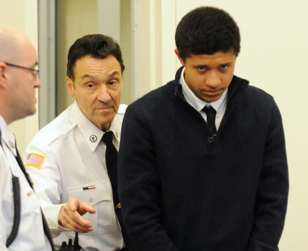 Danvers' Phillip Chism is led into his arraignment on murder charges in Salem Superior Court. (Paul Bilodeau/The Eagle-Tribune/AP, Pool)