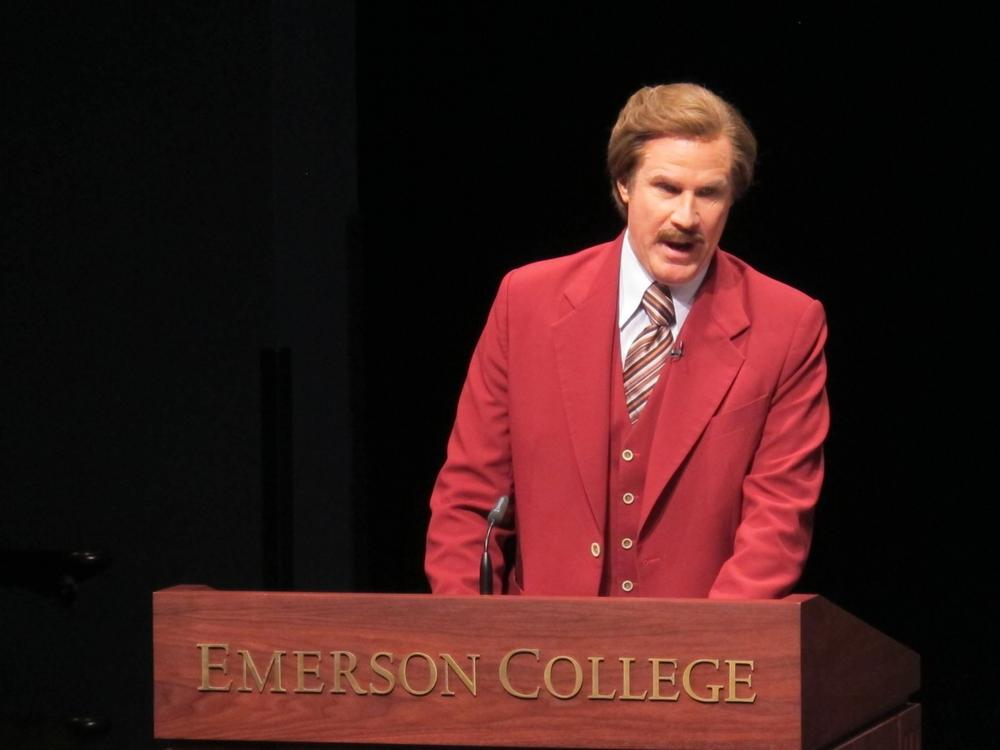 Will Ferrell speaks at a press conference at Emerson College as Ron Burgundy. (Andrea Shea/WBUR)