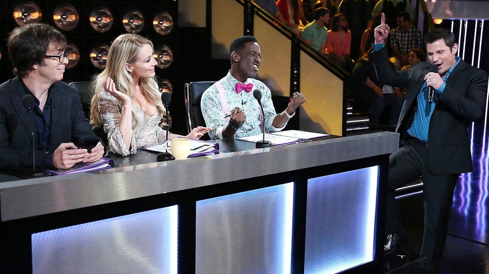 "The panel of judges on NBC's ""The Sing-Off,"" an a cappella competition. (NBC)"