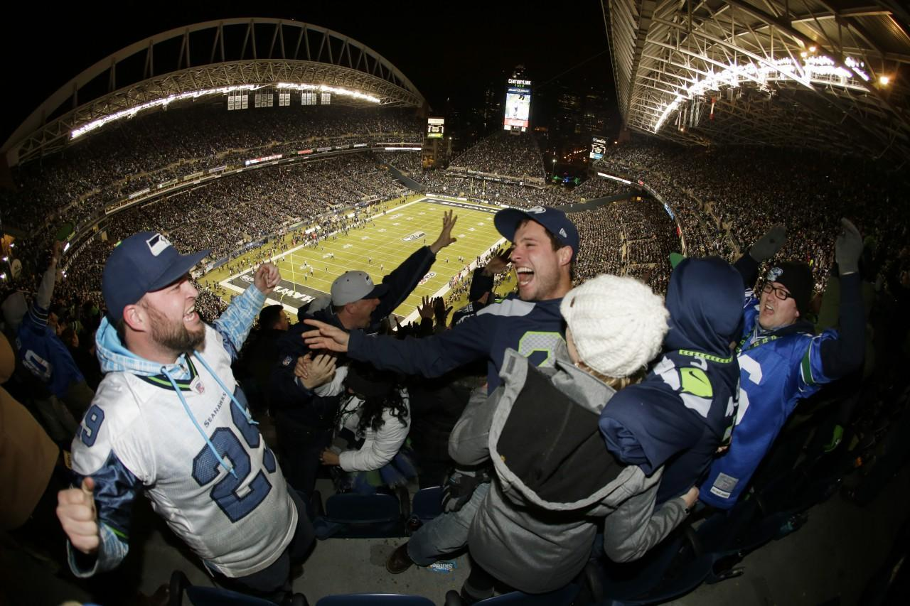 Seattle fans' celebration during the Seahawks' latest victory registered as an earthquake. (John Froschauer/AP)