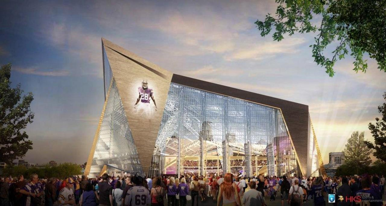 The new Vikings' Stadium is reminiscent of the Beijing Olympics' Water Cube. (HKS/AP)