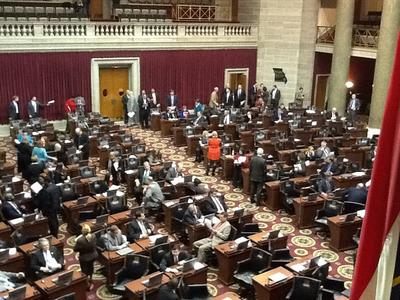 Floor of the Missouri House shortly after the passage of the Boeing incentives bill on Dec. 6, 2013. (Marshall Griffin/St. Louis Public Radio)