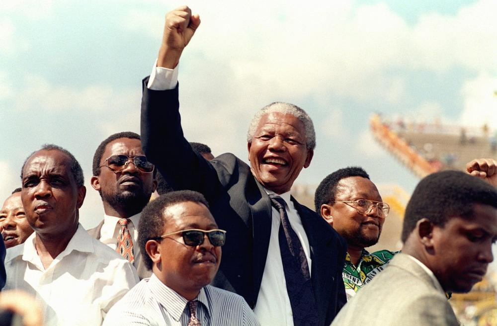 South African National Congress President Nelson Mandela arrives for his first election rally, March 15, 1994, for the April 27 general elections. (Walter Dhladhla/AFP/Getty Images)