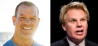 Lululemon founder and chairman Chip Wilson, left, has resigned, and there are calls for the resignation of Abercrombie & Fitch CEO Mike Jeffries, right. (Wikimedia Commons and AP)
