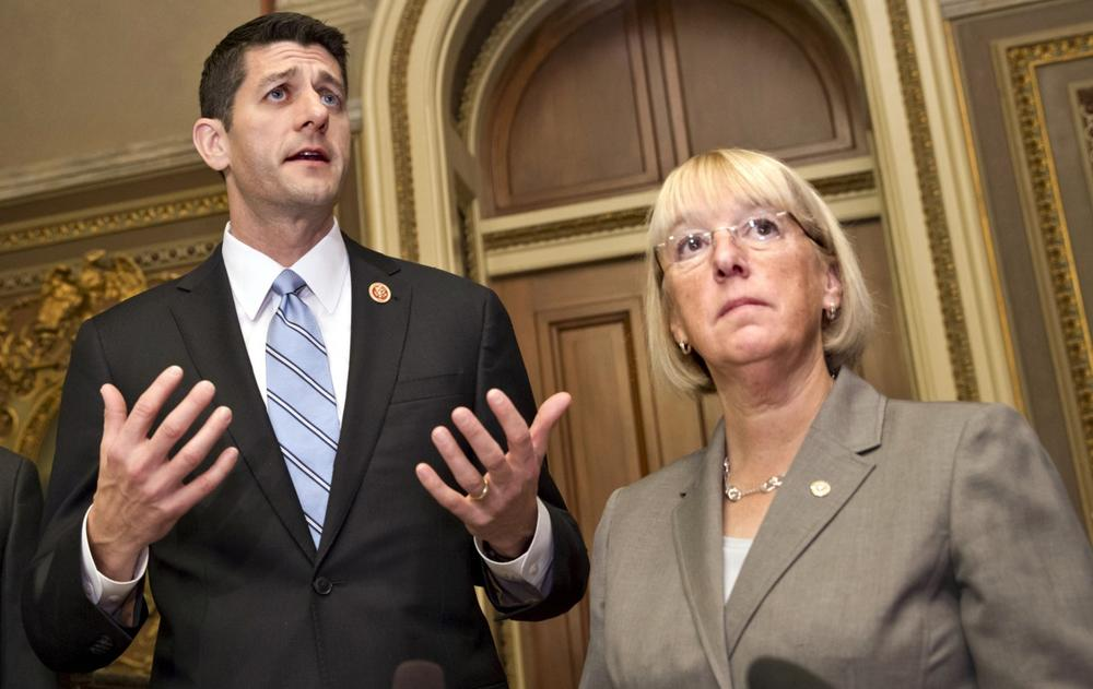 There's little enthusiasm for the budget compromise worked out by House Budget Committee Chair Rep. Paul Ryan (R-Wis.), left, and Senate Budget Committee Chair Patty Murray (D-Wash). (Scott Applewhite/AP)