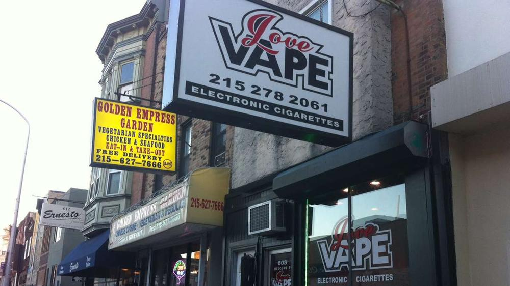 Love Vape at Fifth and South streets sell electronic cigarettes, e-liquids, cartomizers, atomizers, and other accessories for vaping (Elizabeth Fiedler/WHYY)