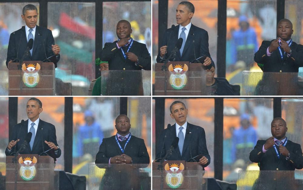 In these combination of pictures taken on December 10, 2013, U.S. President Barack Obama delivers a speech next to sign language interpreter Thamsanqa Jantjie (R) during the memorial service for late South African President Nelson Mandela at Soccer City Stadium in Johannesburg. (Alexander Joe/AFP/Getty Images)