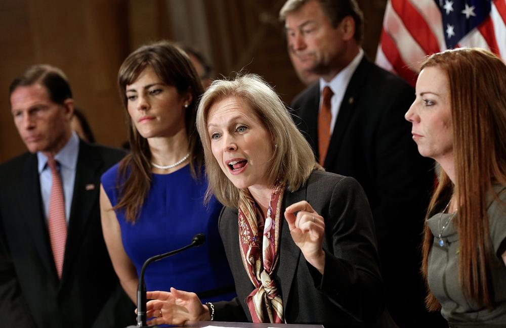 Sen. Kirsten Gillibrand (D-NY) speaks at a news conference supporting passage of the Military Justice Improvement Act November 19, 2013 in Washington, D.C. The legislation would help address increasing numbers of sexual assaults in the U.S. military. (Win McNamee/Getty Images)