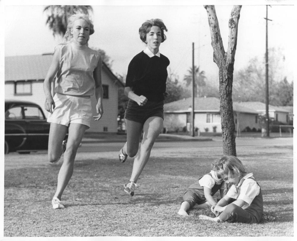 Just days after running in the 1963 Western Hemisphere Marathon in Culver City, Calif., ]';Merry Lepper (left) and Lyn Carman (right) were back at it, seemingly unbeknownst to Carmen's children.  (Courtesy of Merry Lepper)