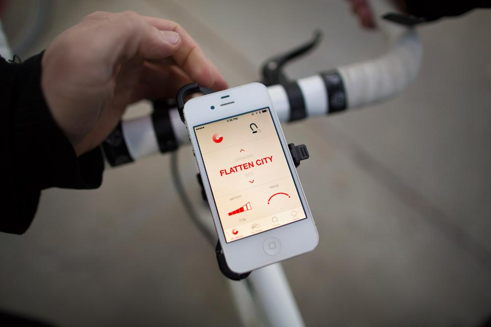 Install the wheel, download the Copenhagen Wheel app, and you're ready to go.  (Jesse Costa/Here & Now)