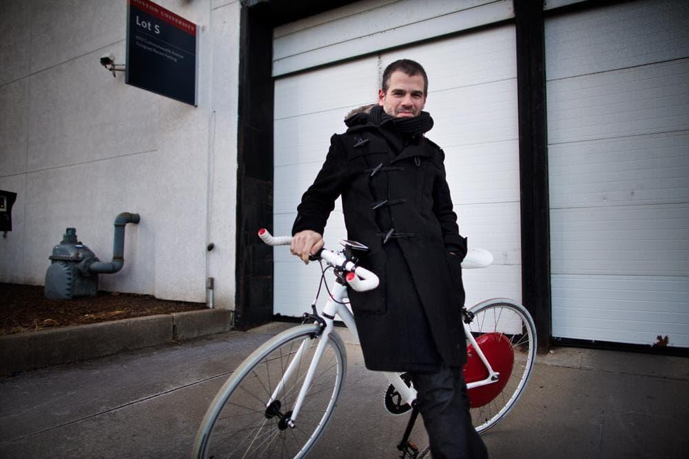 Copenhagen Wheel co-inventor Assaf Biderman outside the Here & Now studios. (Jesse Costa/Here & Now)