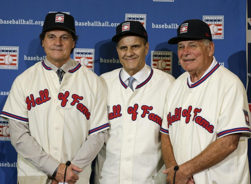 Tony La Russa, Joe Torre, and Bobby Cox (l to r) have a combined 10 Manager of the Year awards and eight World Series titles. (John Raoux/AP)