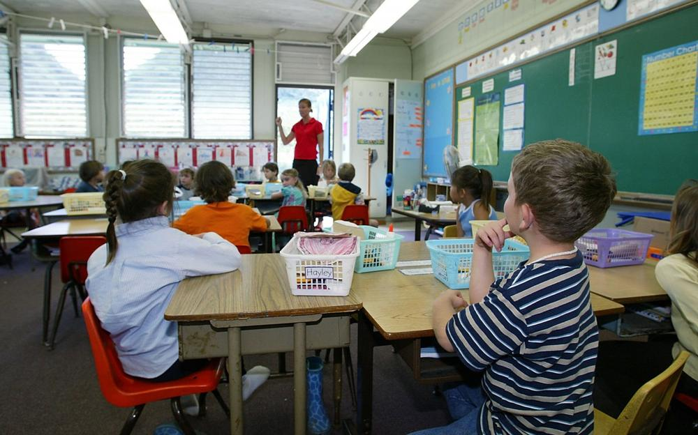 A kindergarten teacher prepares her students for a classroom lockdown drill February 18, 2003 in Oahu, Hawaii. Lockdown procedure is used to protect school children from possible threats. (Phil Mislinski/Getty Images)