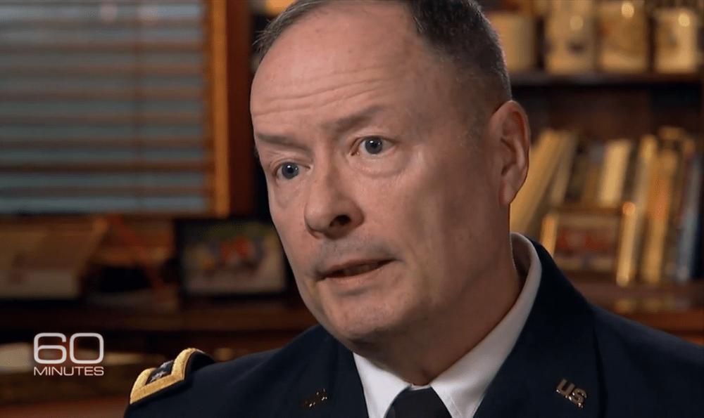 "NSA Director Gen. Keith Alexander speaks to John Miller on ""60 Minutes."" (Screenshot)"