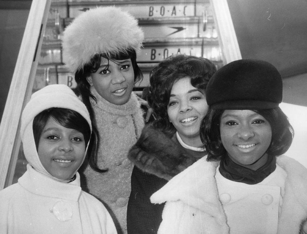 The Crystals, from left to right; Barbara, Dee Dee, Fran and La La, Feb. 7, 1964. (Keystone/Getty Images)