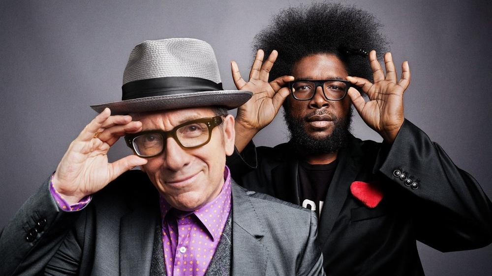 "A collaboration between Elvis Costello and The Roots' is among KCRW DJ Raul Campos' picks for songs with a ""throwback feel."" (Danny Clinch via NPR)"