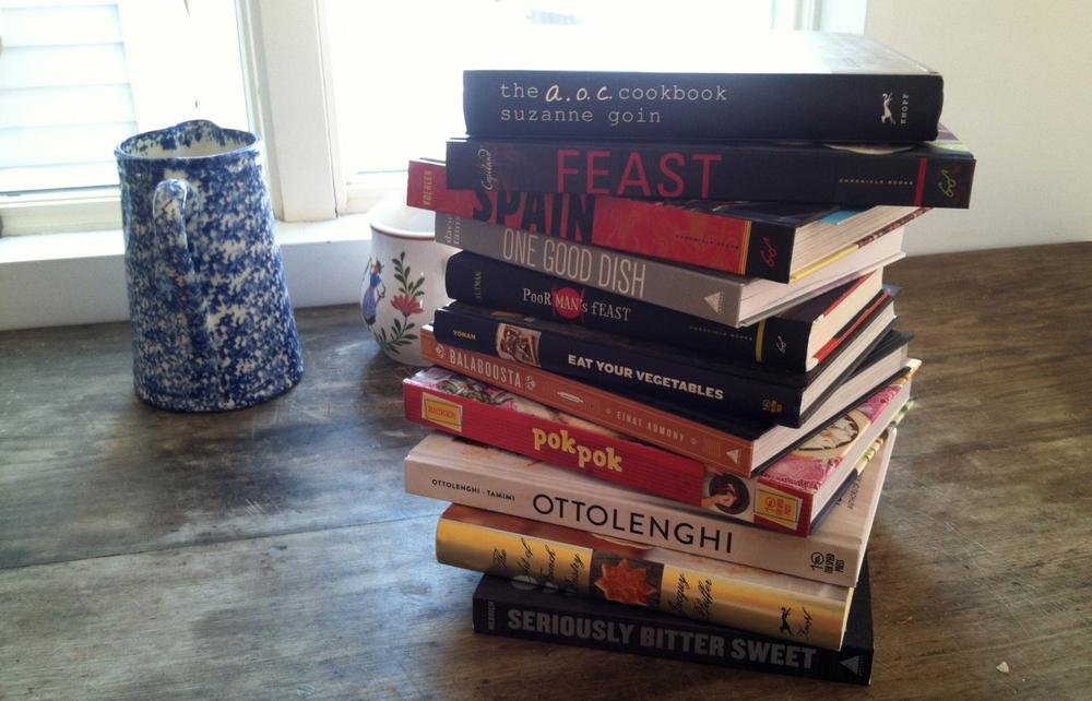 A stack of Kathy Gunst's favorite cookbooks. (Kathy Gunst/Here & Now)