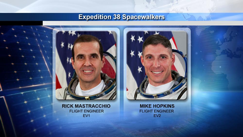 Flight Engineers Rick Mastracchio and Mike Hopkins are preparing for a series of spacewalks to remove a failed pump module and install a spare pump module. (NASA)
