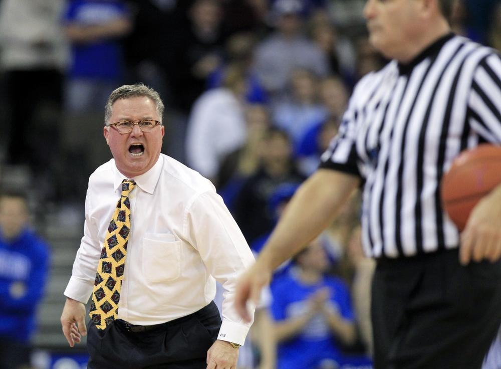 This isn't the first time SIU head coach Barry Hinson has shown his temper. Here he is yelling at a referee in February. (Nati Harnik/AP)