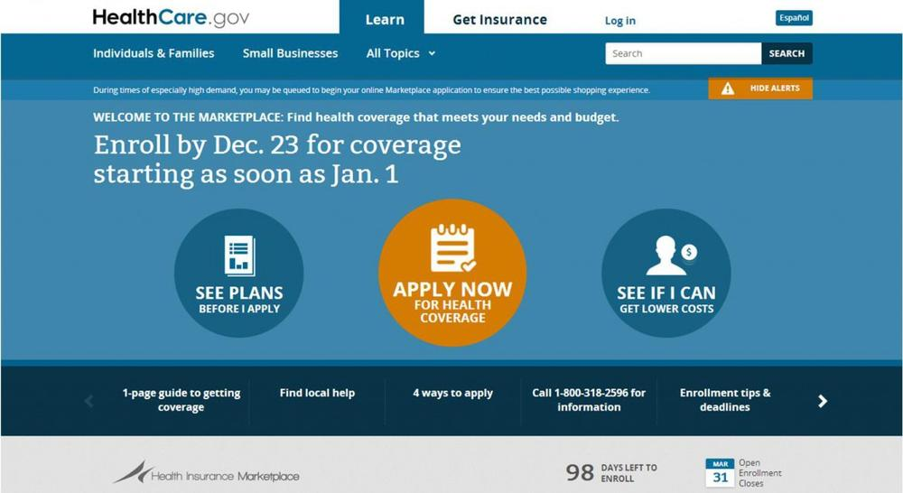 Today is the deadline to sign up for health care on the federal HealthCare.gov website. (Screenshot HealthCare.gov)