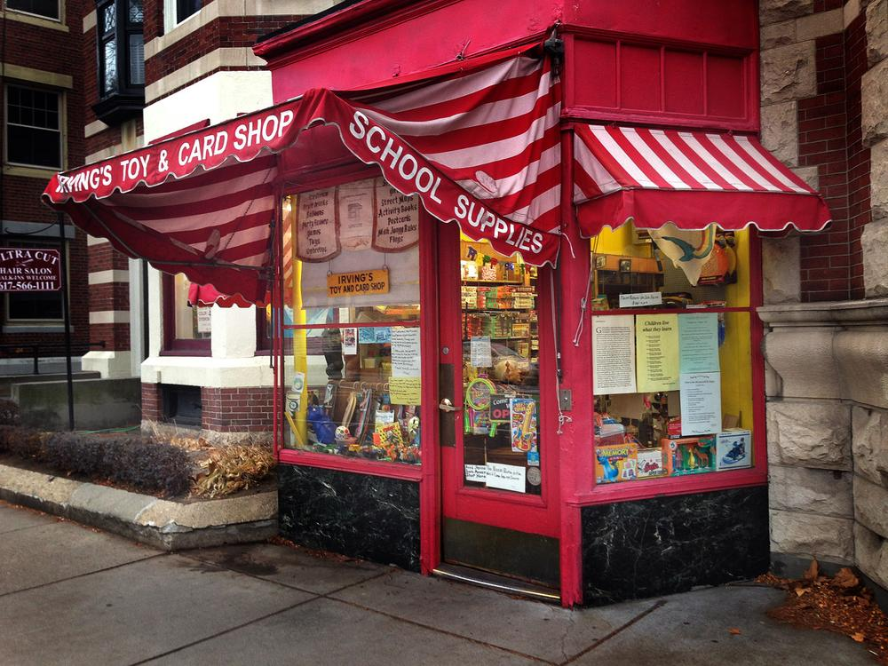 The storefront of Irving's Toy & Card Shop in Coolidge Corner, Brookline. (Bruce Gellerman/WBUR)