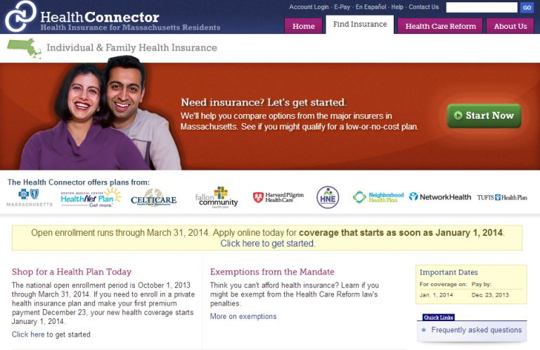 Screenshot of Mass. Health Connector website