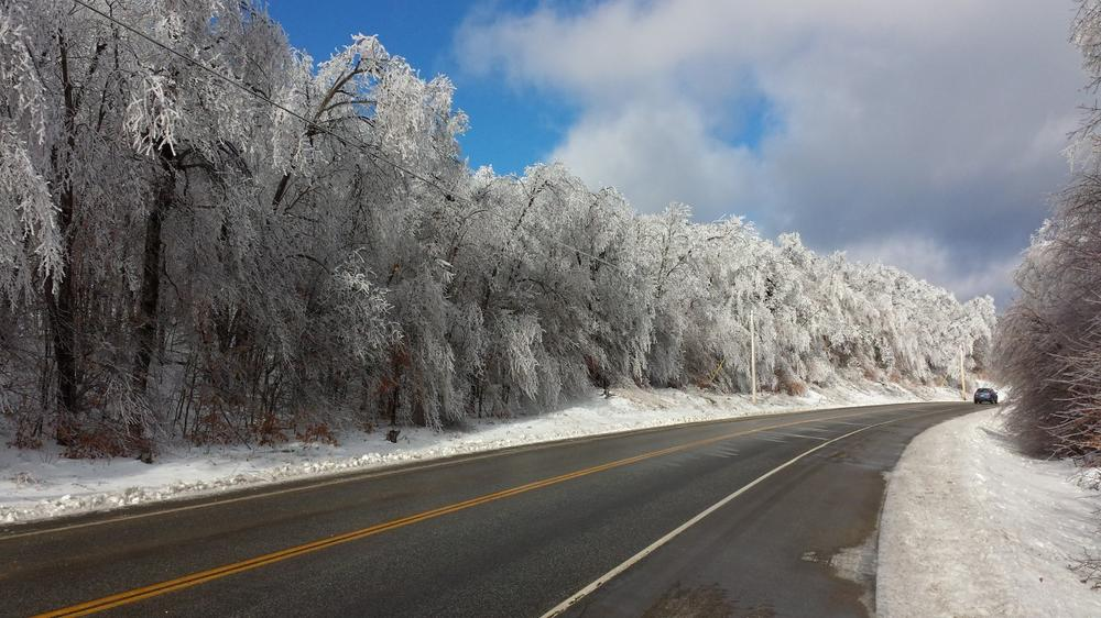 An ice storm in Maine has left thousands without power. Power has been restored to Buckfield, Maine, where this photograph was taken on Streaked Mountain Road (Rte. 117) on Dec. 24, but parts of Central Maine remain without power. (Tim Werwath)