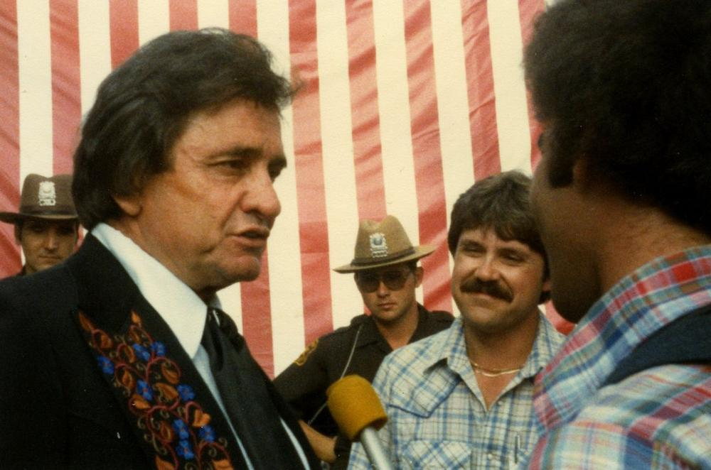 Don Gonyea (far right, in vest) interviewing Johnny Cash in 1981. (Don Gonyea)