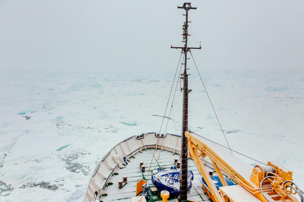 This image taken by passenger Andrew Peacock of www.footloosefotography.com on December 29, 2013 shows a thin fresh coat of snow on the trapped ship MV Akademik Shokalskiy as it waits to be rescued. (Andrew Peacock/AFP/Getty Images)