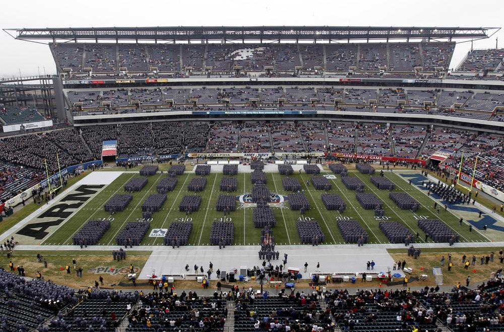 Army Cadets march onto the filed before an NCAA college football game between the Army and the Navy Saturday, Dec. 8, 2012, in Philadelphia. (Matt Rourke/AP)