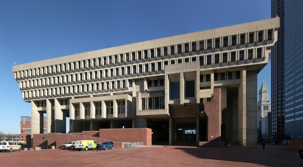 Boston City Hall. It was built 1968 and is an example of Brutalist style.