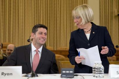 In this Nov. 13, 2013 file photo, House Budget Committee Chairman Rep. Paul Ryan, R-Wis., left, and Senate Budget Committee Chair Sen. Patty Murray, D-Wash., arrive at a Congressional Budget Conference on Capitol Hill in Washington. The two Congressional leaders are said to be close to finalizing a two-year budget plan. (AP)