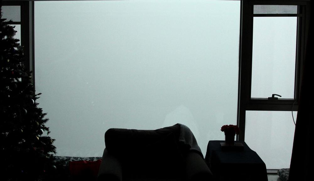 Frank Langfitt awoke to this view on Saturday morning, essentially a smog white-out. Visibility was down to about 40 feet.(Frank Langfitt/NPR)