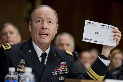 "National Security Agency (NSA) Director Gen. Keith Alexander testifies on Capitol Hill in Washington, Wednesday, Dec. 11, 2013, before the Senate Judiciary Committee hearing on ""Continued Oversight of U.S. Government Surveillance Authorities"" . (AP)"