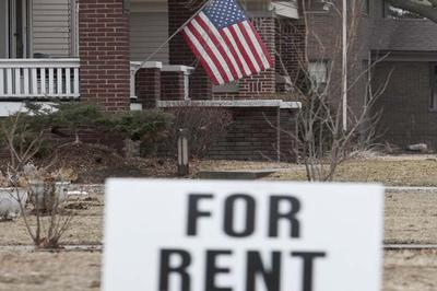 "In this Feb. 28, 2012, file photo a yard sign reading ""For Rent"" is seen in Fremont, Neb. A new Harvard University Study shows a significant increase in single-family homes being transformed into rental units after the 2008 recession. (AP)"