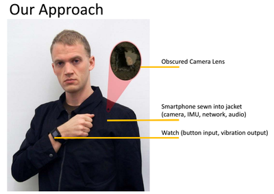 "MIT's David Hayden demos the ""wearable acquaintance recognizer"" prototype"