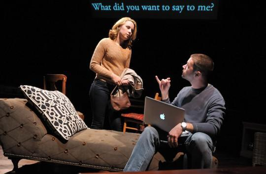 """Erica Spyres and James Caverly in """"Tribes"""" at SpeakEasy Stage Company. (Craig Bailey/Perspective Photo)"""