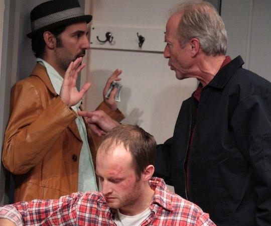 "Alex Pollock (foreground), Nael Nercer and Will Lyman in ""Windowmen."" (Courtesy, Boston Playwrights' Theatre)"