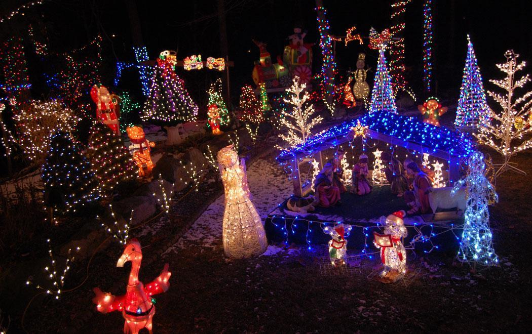 greg cook manger scene with flamingos at santas sleigh at 16 lynn fells parkway saugus