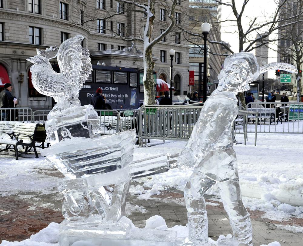 Ice sculpture at First Night (Courtesy)