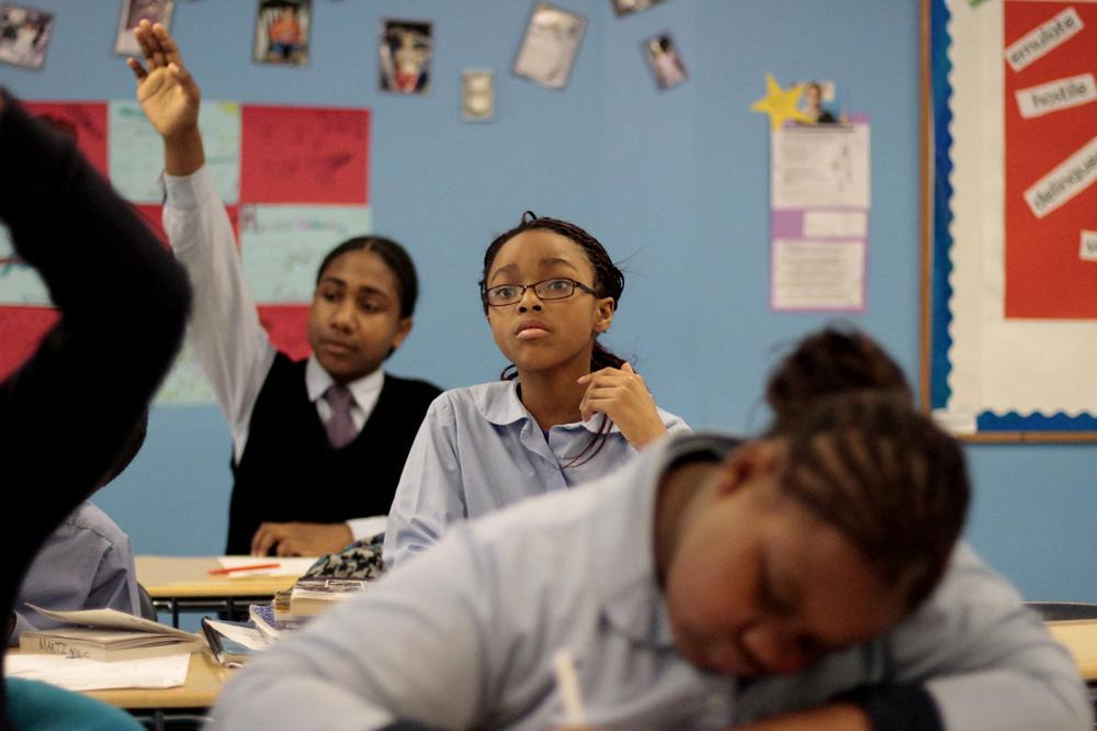 Students at Roxbury Prep Charter School, which is known for its high achievement test scores, in 2011. (Jesse Costa/WBUR)