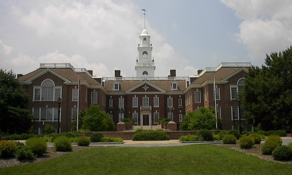 The Delaware Legislative Hall. Delaware is one of many states that is implementing new laws today, including a law that bans the possession and sale of shark fins. (Wikimedia Commons)