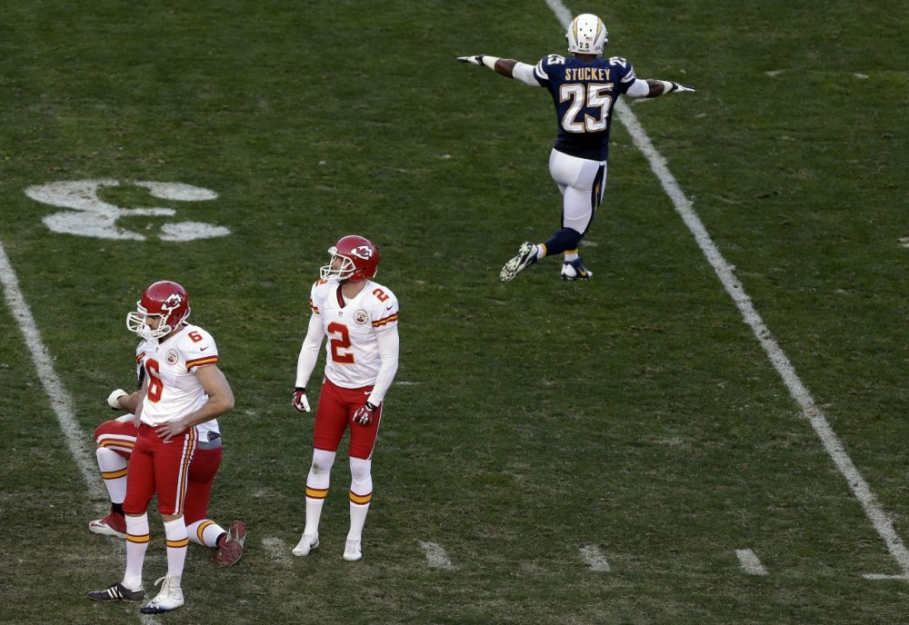 The San Diego Chargers advanced to the playoffs after Ryan Succop (left) missed a field goal. But the NFL later admitted an illegal San Diego formation should have given Succop another kick. (Gregory Bull/AP)