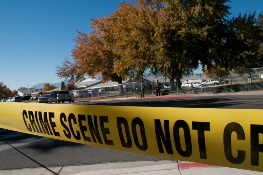 Police tape secures the scene after a shooting at Sparks Middle School October 21, 2013 in Sparks, Nevada. (David Calvert/Getty Images)