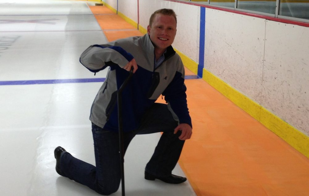 Thomas Smith, a former amateur hockey player, suffered a spinal injury when he crashed into the boards as a teenager that has left him paralyzed. He has created the Look-Up Line, a neon orange line around the edge of the ice that would warn players they are getting close to the boards. (Thomas E. Smith Foundation)