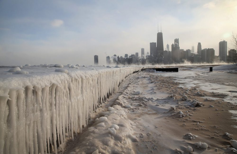Ice builds up along Lake Michigan at North Avenue Beach as temperatures dipped well below zero on January 6, 2014 in Chicago, Illinois. (Scott Olson/Getty Images)
