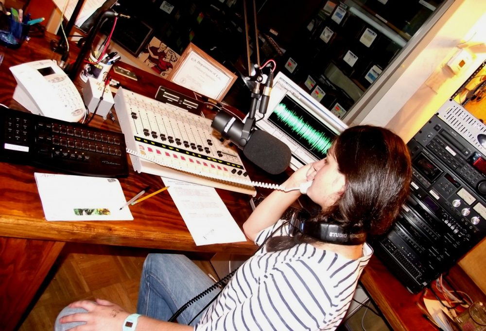 """Sylvia Ryerson answers and archives messages for the program """"Calls from Home"""" at WMMT. (WMMT)"""